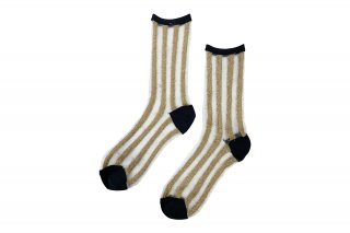 <b><font color='red'>NEW</font></b><br>SEE-THROUGH GLITTER STRIPE  SOCKS<br>BLACK×GOLDの商品画像