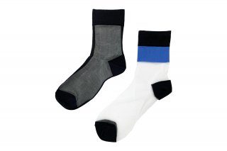 <b><font color='red'>NEW</font></b><br>ASYMMETRIC LINED SEE-THROUGH SOCKS<br>BLUEの商品画像