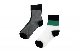 <b><font color='red'>NEW</font></b><br>ASYMMETRIC LINED SEE-THROUGH SOCKS<br>GREENの商品画像