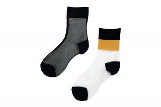 <b><font color='red'>NEW</font></b><br>ASYMMETRIC LINED SEE-THROUGH SOCKS<br>YELLOWの商品画像