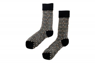 <b><font color='red'>NEW</font></b><br>GEOMETRIC SEE-THROUGH SOCKS<br>BLACK×GOLD×SILVERの商品画像