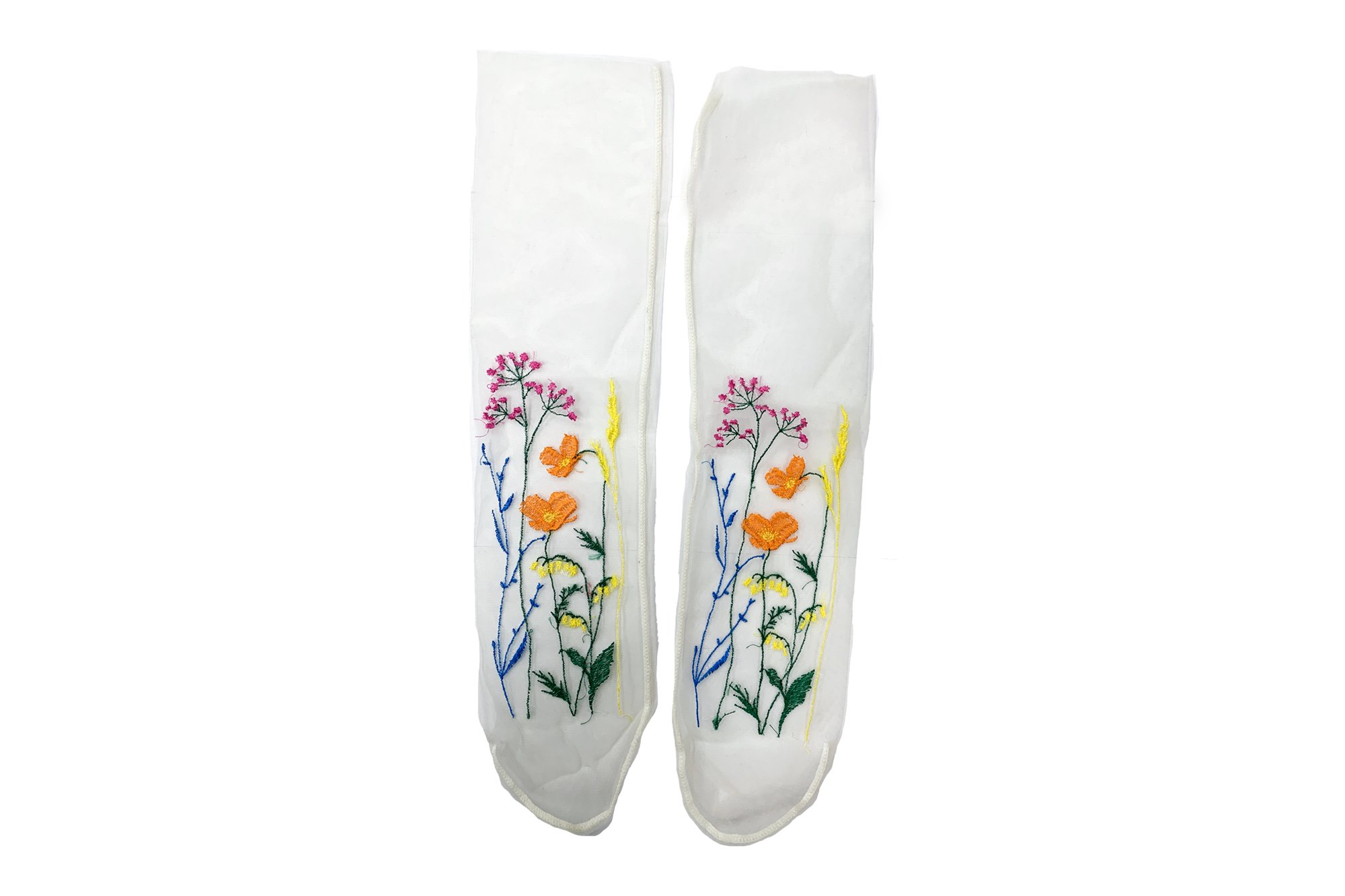 <b><font color='red'>NEW</font></b><br>FLOWER EMBROIDERY SHEER SOCKS<br>BEIGE