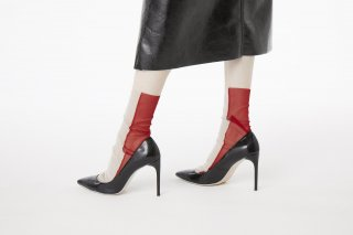 <b><font color='red'>RESTOCK</font></b><br>2TONE SHEER SOCKS<br>BEIGE×REDの商品画像