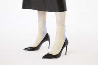 <b><font color='red'>RESTOCK</font></b><br>STRIPE×LACE SHEER SOCKS<br>YELLOW×BLUEの商品画像