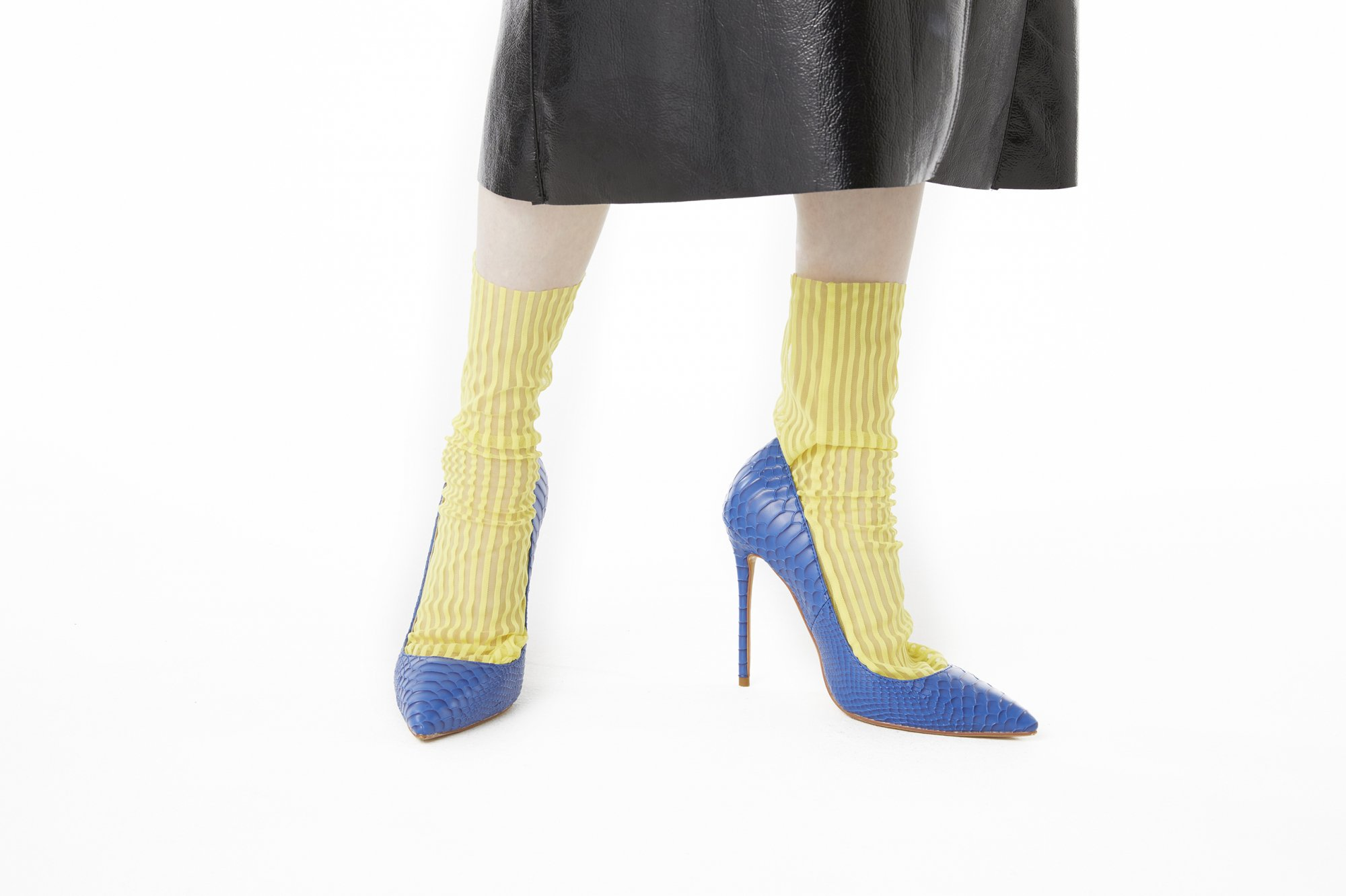 <b><font color='red'>RESTOCK</font></b><br>STRIPED TULLE SOCKS<br>YELLOW