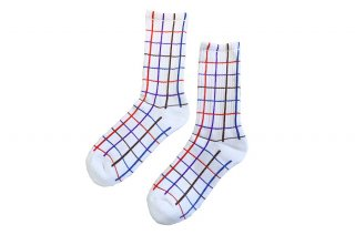 <b><font color='red'>NEW</font></b><br>UNISEX/CHECK SPORTS SOCKS<br>WHITEの商品画像