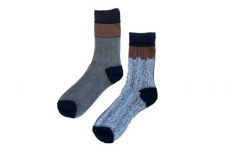 <b><font color='red'>NEW</font></b><br>SEE-THROUGH BLOCK SOCKS<br>BROWN×SILVERの商品画像