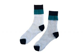 <b><font color='red'>NEW</font></b><br>SEE-THROUGH BLOCK SOCKS<br>GREEN×SILVERの商品画像