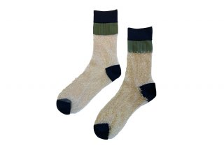 <b><font color='red'>NEW</font></b><br>SEE-THROUGH BLOCK SOCKS<br>KHAKI×GOLDの商品画像