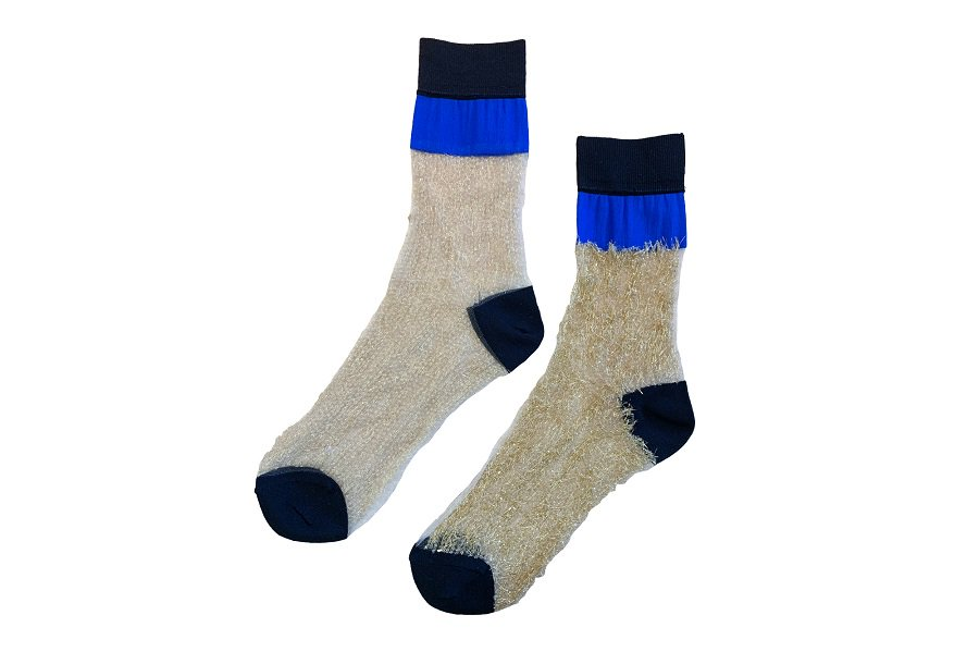 <b><font color='red'>NEW</font></b><br>SEE-THROUGH BLOCK SOCKS<br>BLUE×GOLD