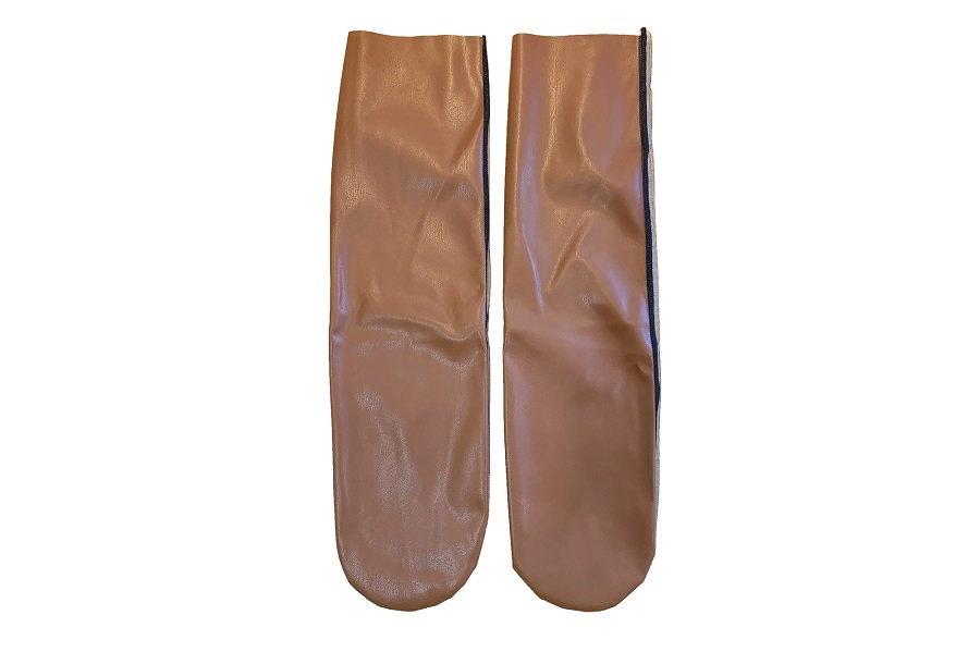 <b><font color='red'>NEW</font></b><br>FAUX LEATHER MESH  SOCKS<br>BROWN