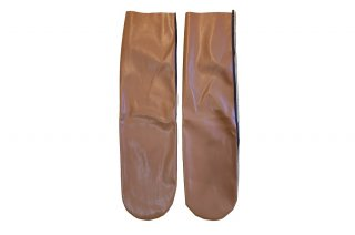 <b><font color='red'>NEW</font></b><br>FAUX LEATHER MESH  SOCKS<br>BROWNの商品画像