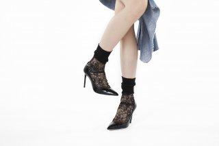 LIBBED LACE SHEER SOCKS<br>BLACKの商品画像