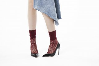 LIBBED LACE SHEER SOCKS<br>REDの商品画像