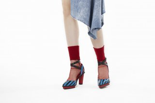 LIBBED TULLE SHEER SOCKS<br>REDの商品画像