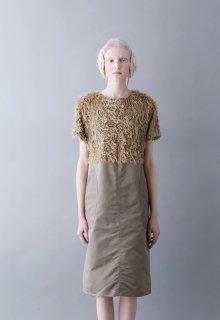 nylon twill + vintage fur one-piece