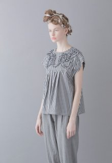 gingham check motif pullover