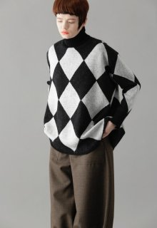 rhombus knit pull-over