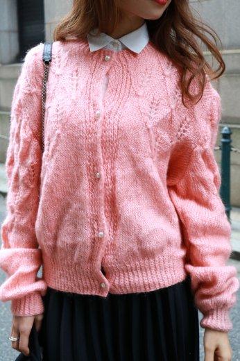 【vintage】pearl botão pink knit cardigan