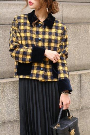 【vintage】GIVENCHY / velvet check retro jacket