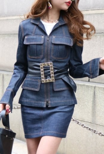 【vintage】Yves Saint Laurent / denim jacket & skirt set up