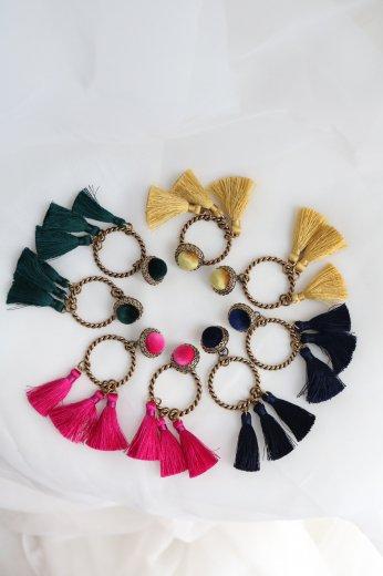 swing color 6 tassels pierced earrings / green・yellow・pink・black