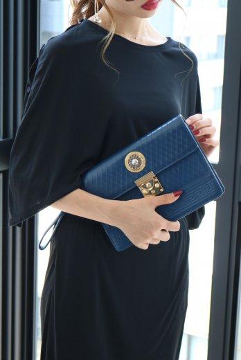 【vintage】VERSACE / sun motif leather clutchbag / blue
