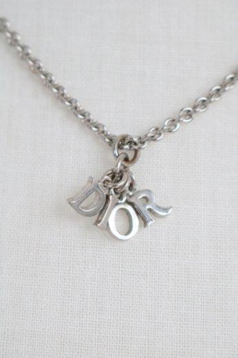 【vintage】Christian Dior / logo swing necklace / silver