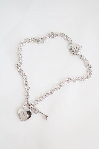 【vintage】Christian Dior / heart & key motif bracelet / silver