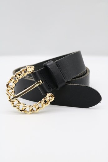 chain motif buckle leather belt