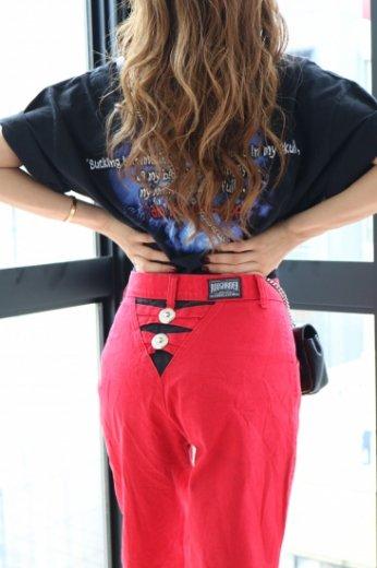 【vintage】ribbon motif belt loop western denim pants / red