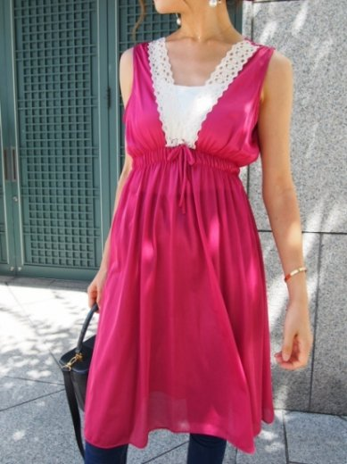 【vintage】V neck lace piping sleeveless baby doll dress