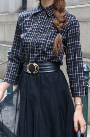 【vintage】KENZO / standard collar multi color check pattern cotton shirt