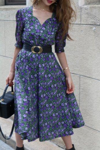 heart cut neck chiffon docking flare dress / purple×black