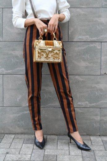 【vintage】KENZO / bicolor high waist stripe pants /brown×black
