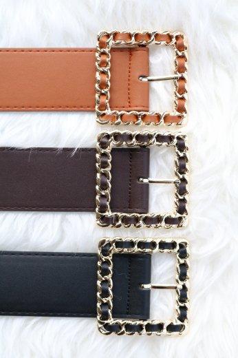 gold  square buckle belt / black・ darkbrown・camel