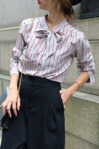 【vintage】stand collar chain motif stripe pattern blouse