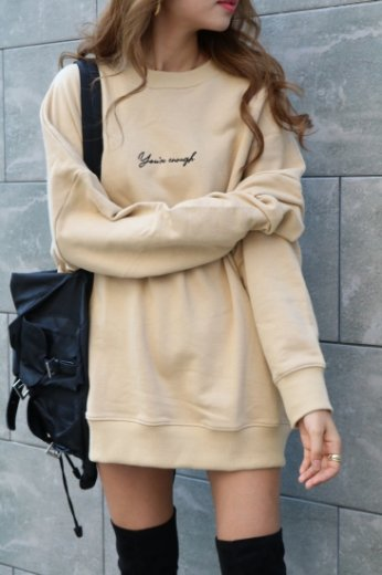 original embroidery design sweatshirt / beige