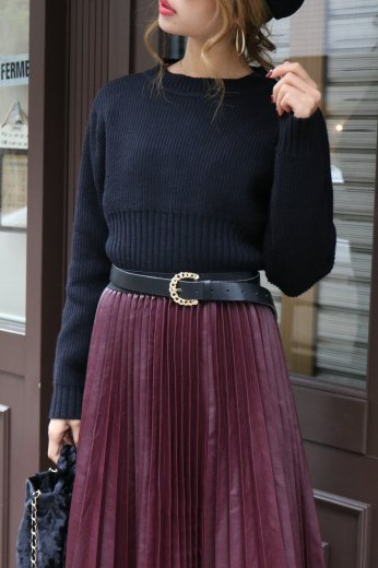 waist wide rib knit tops / black