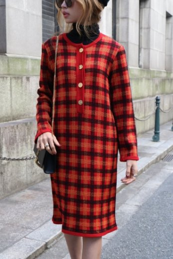 【vintage】Yves Saint Laurent / logo motif gold button check pattern dress / red