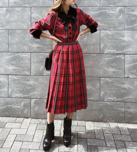 【vintage】Yves Saint Laurent / front silk ribbon check pattern jacket & pleats skirt set up