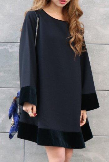 【vintage】KENZO / round neck velors docking sack dress