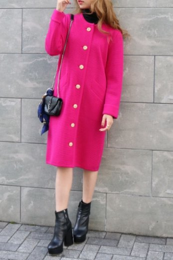 【vintage】Yves Saint Laurent /front gold button no collar knit dress