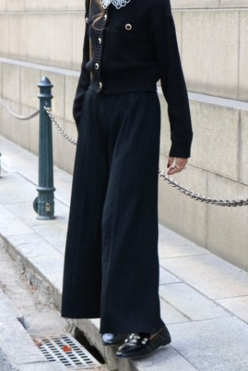waist gather rib wide pants / black