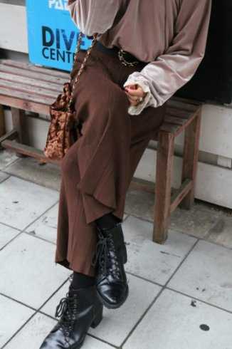 waist gather rib wide pants / brown