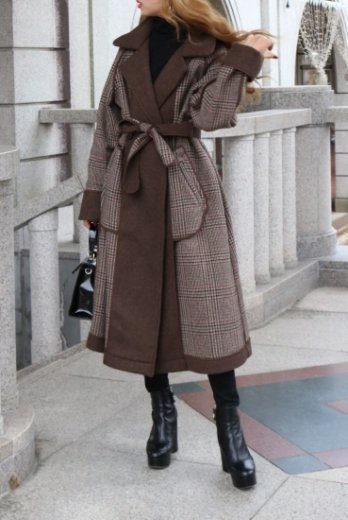 <img class='new_mark_img1' src='https://img.shop-pro.jp/img/new/icons57.gif' style='border:none;display:inline;margin:0px;padding:0px;width:auto;' />notched lapel collar check pattern reversible long coat (belt set) / brown