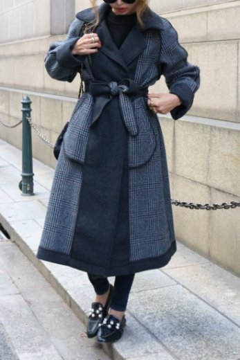 <img class='new_mark_img1' src='https://img.shop-pro.jp/img/new/icons57.gif' style='border:none;display:inline;margin:0px;padding:0px;width:auto;' />notched lapel collar check pattern reversible long coat (belt set) / gray
