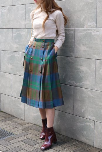 【vintage】Christian Dior / front wood button check pattern pleats skirt
