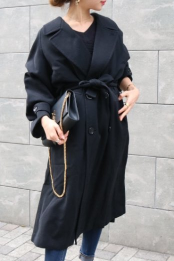 【vintage】KENZO / long trench coat (belt ribbon set) / black