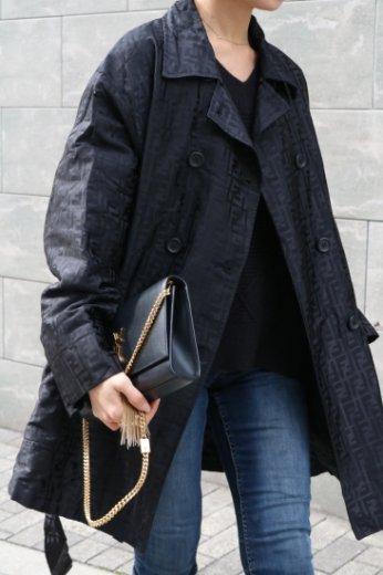 【vintage】FENDI / zucca pattern nylon coat (belt ribbon set) / black